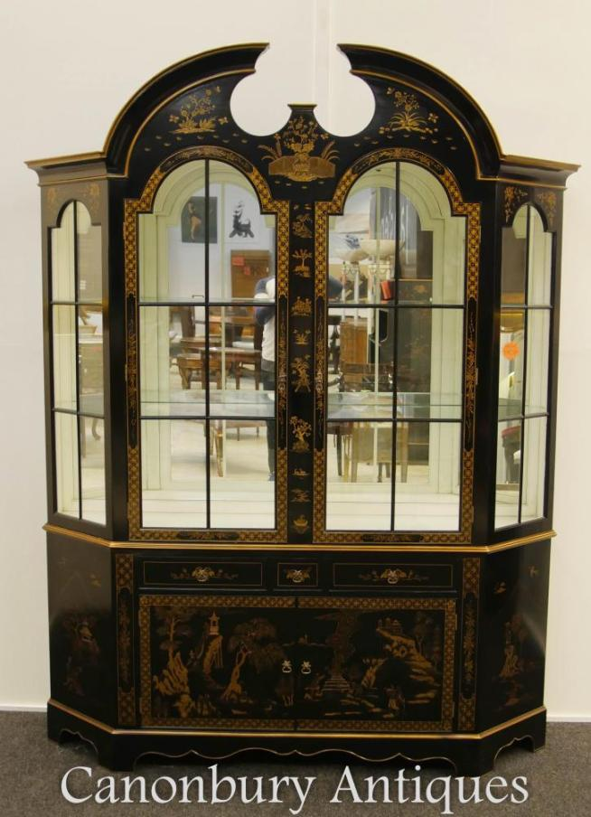 Regency Black Lacquer Display Cabinet Bookcase Chinoiserie