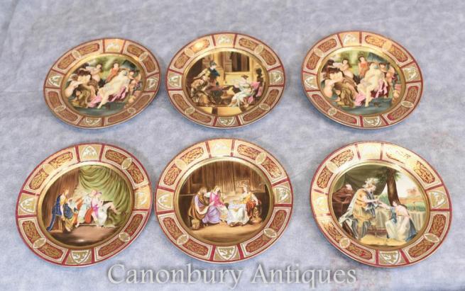 Set 6 French JP Limoges Porcelain Plates Roman Toga Figures Plaques