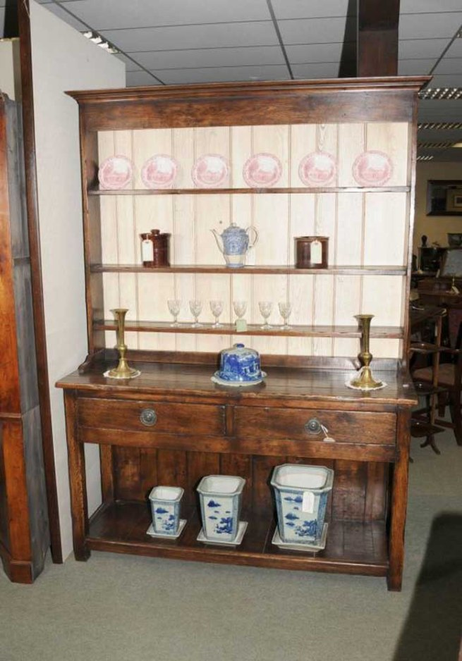 7 ft Country Oak Welsh Dresser Pot Board Cupboard