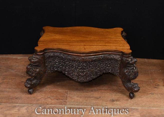 Antique Burmese Carved Coffee Table Circa 1880 Burma