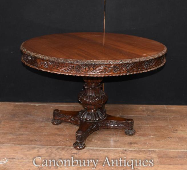 Antique Burmese Centre Table - Hand Carved Burma Circa 1860