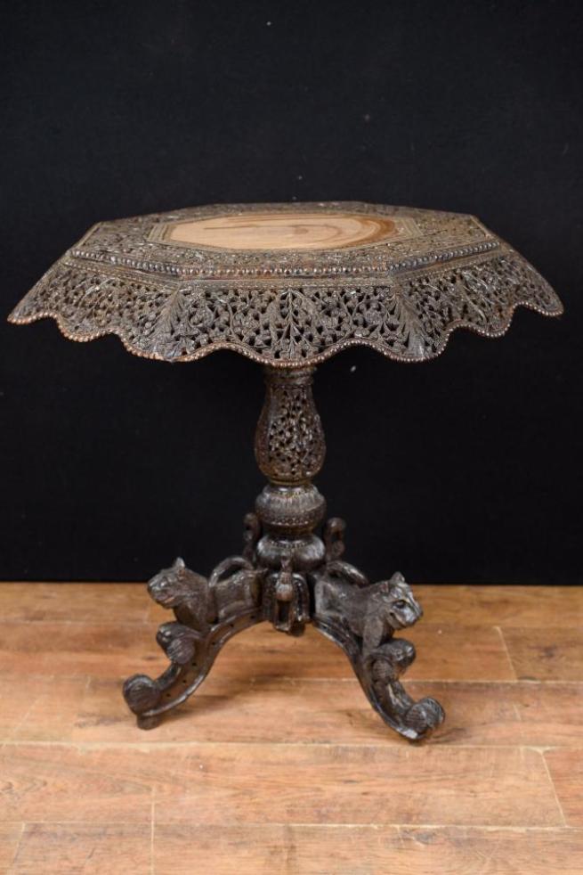Antique Burmese Octagonal Side Table Hand Carved