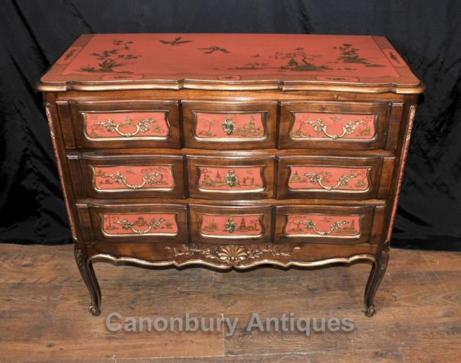 Antique Chest Drawers Commode Chinese Lacquer Chinoiserie 1890