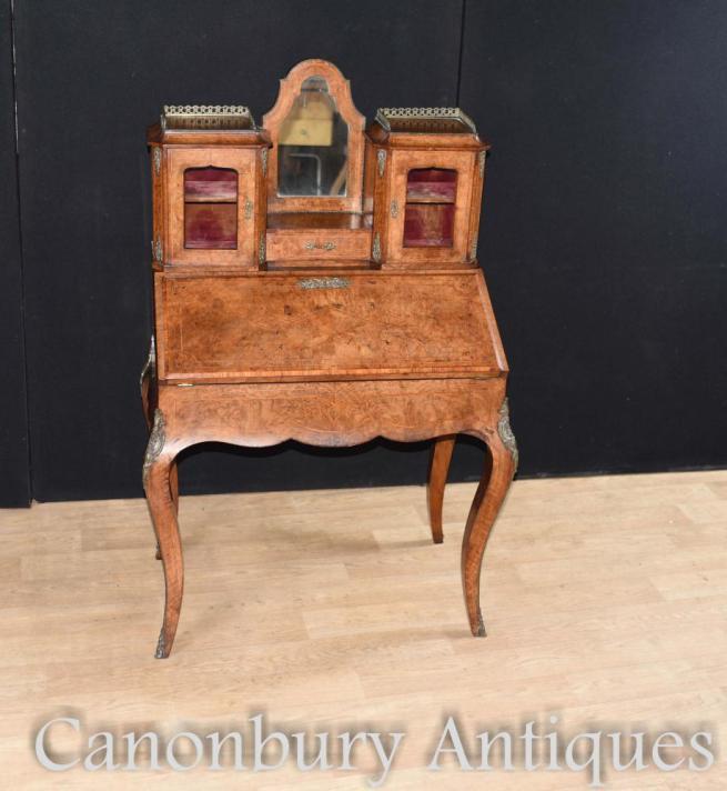 Antique French Desk - Walnut Bonheur De Jour ladies Desk Circa 1880