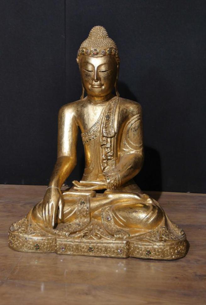 Antique Nepalese Buddha Statue - Buddhism Meditation Pose Dhyanasana