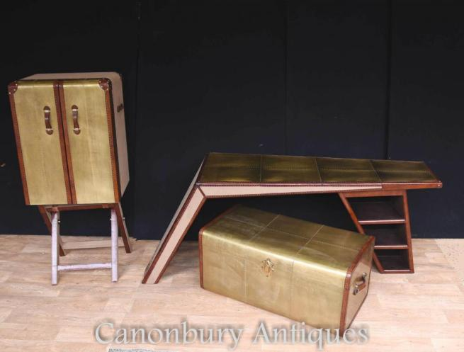 Art Deco Campaign Desk Chest Cabinet Set Writing Table