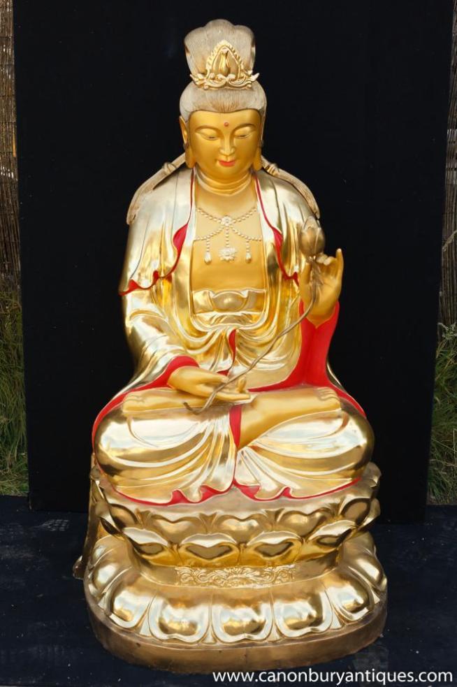 Big Ormolu Bronze Tibetan Buddha Statue Lotus Pose Buddhism Buddhist Art