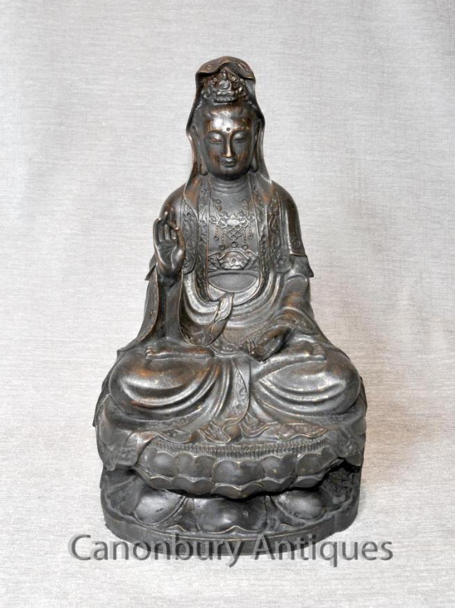 Bronze Tibetan Buddha Statue Meditation Pose Abhaya Mudra Buddhist Art