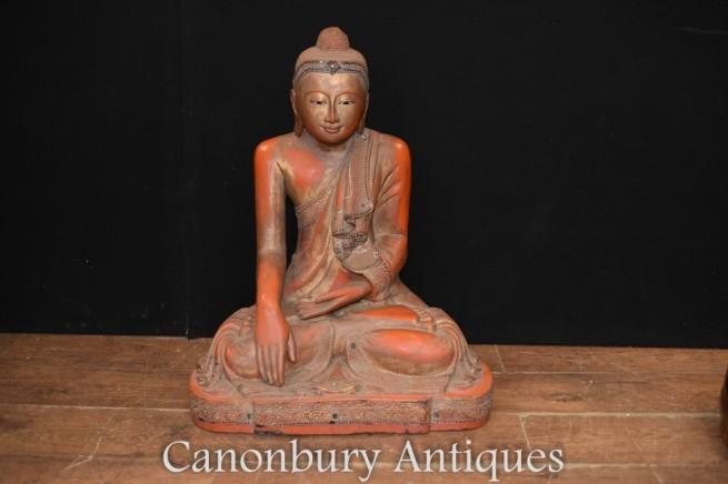 Buddha Statue - Hand Carved Tibetan Meditation Pose Buddhist Art