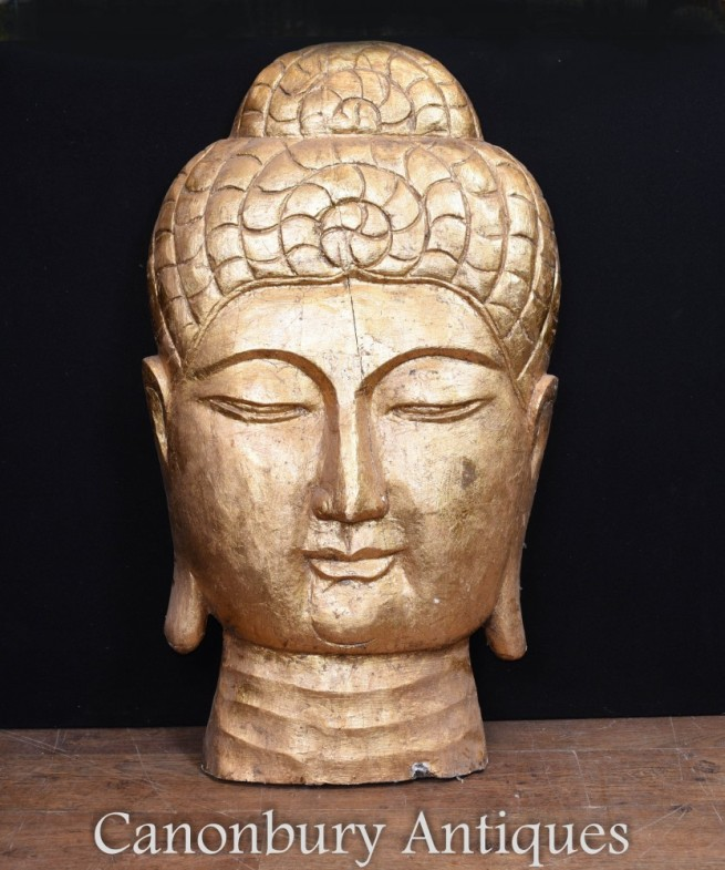 Carved Tibetan Buddha Bust - Hand Carved Buddhist Art Sculpture