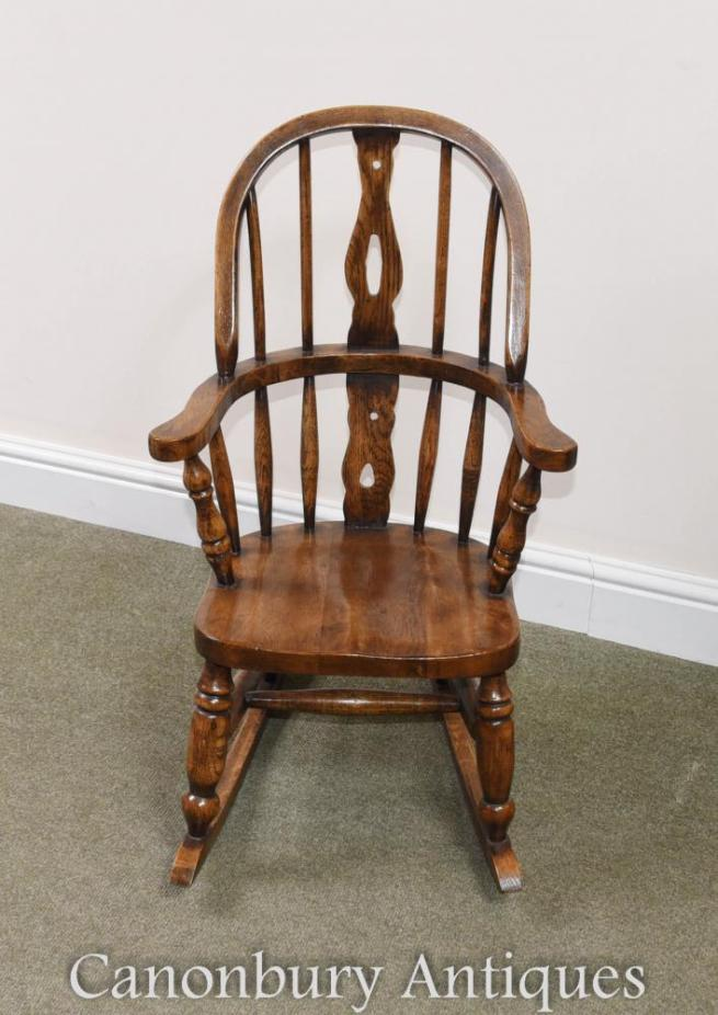Childs Oak Windsor Rocking Chair Childrens Chairs