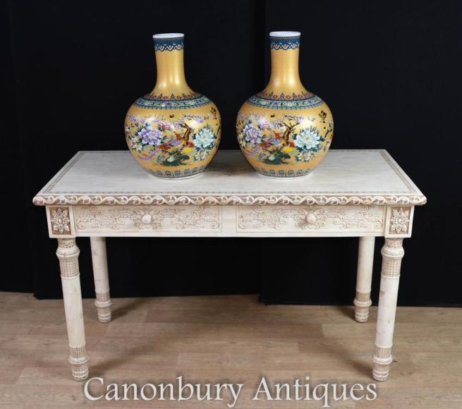 vChinese Hand Carved Library Table Bone Desk
