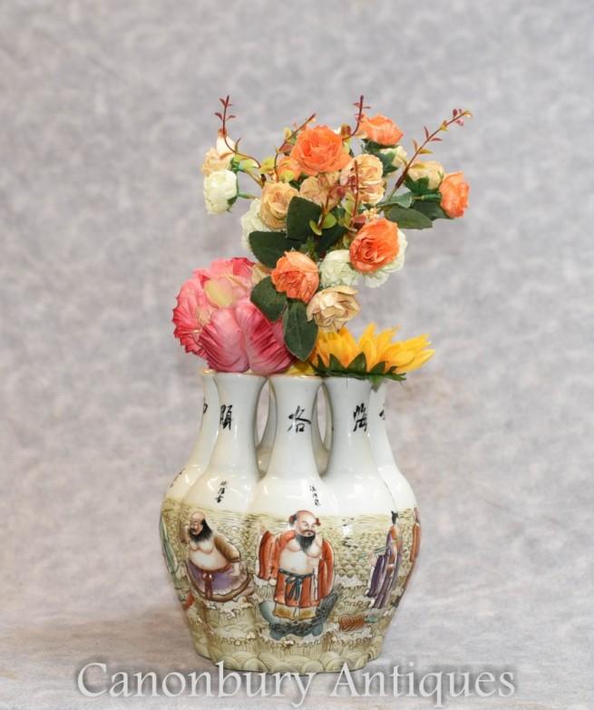 Chinese Qianlong Porcelain Crocus Vase Vases Hand Painted Multi Stem