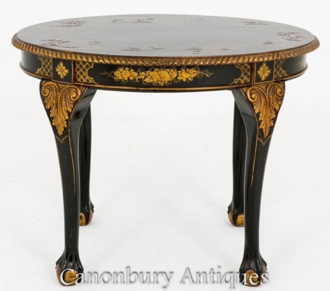 Chippendale Side Table Black Lacquer Chinese Chinoiserie 1890
