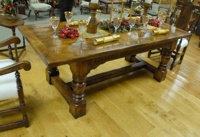 English Abbey Oak Rustic Refectory Table