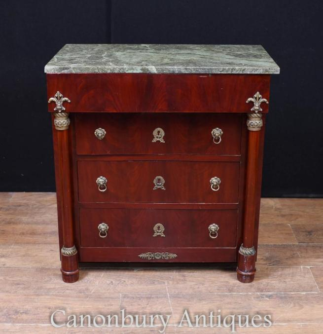French Chest Drawers - Period Empire Mahogany Commode