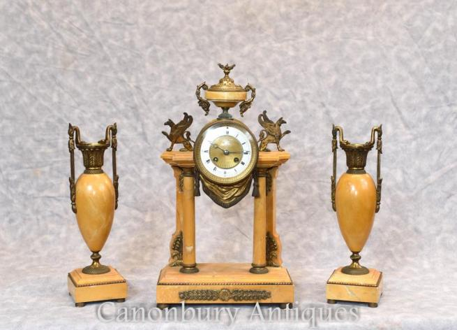 French Empire Marble Gilt Mantle Clock Set with Garniture