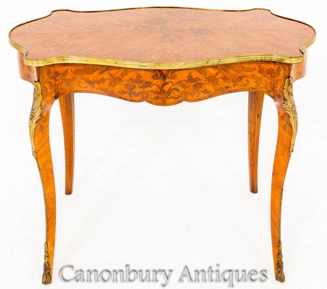 French Empire Writing Table Desk Marquetry Inlay Bureau