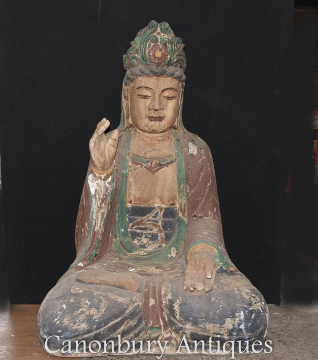 Giant Hand Carved Tibetan Buddha Statue Buddhist Art