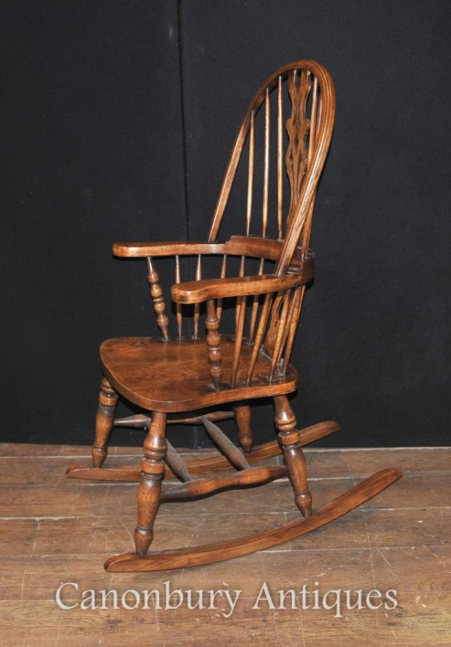 Hand Carved English Windsor Rocking Chair Farmhouse Chairs