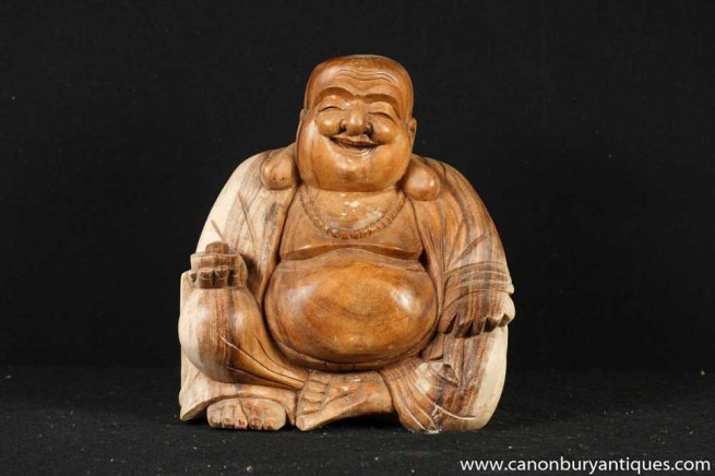 Hand Carved Happy Hotei Buddha Statue Buddhist Buddhism