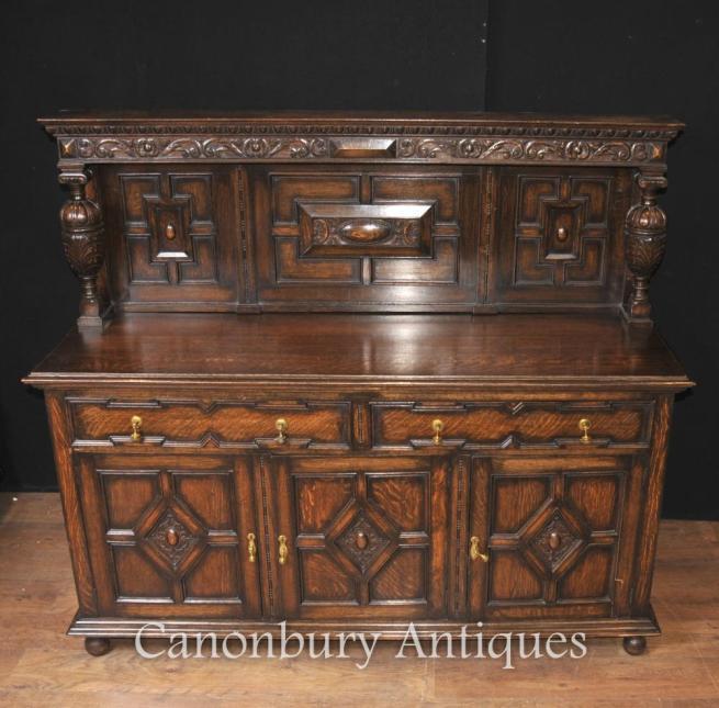 Jacobean Sideboard - Antique Oak Server Buffet Kitchen Furniture