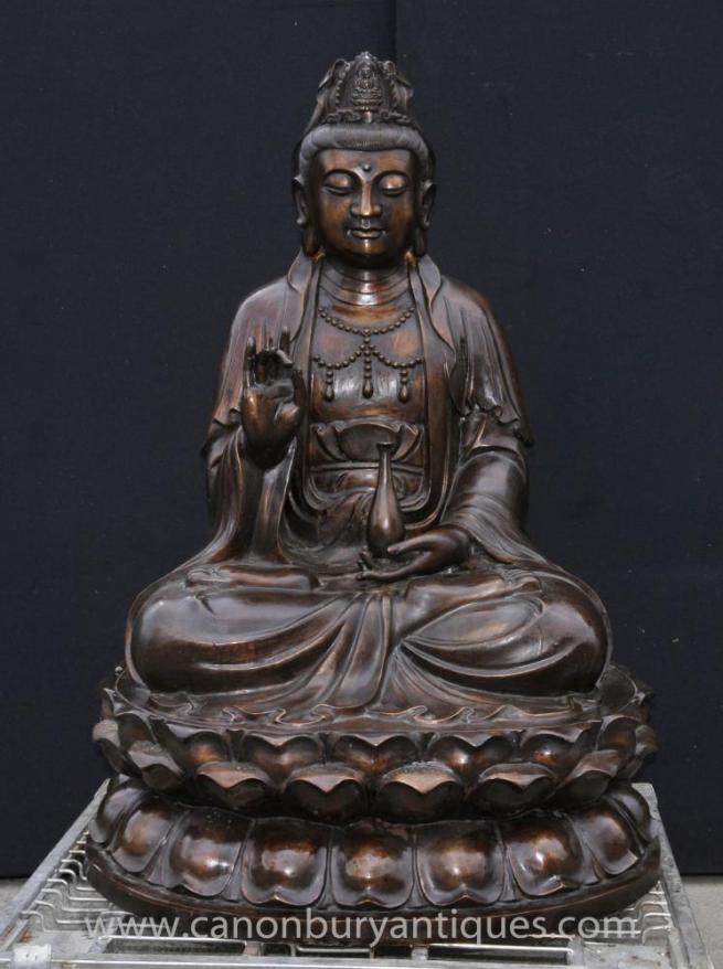 Large Bronze Burmese Buddha Statue Lotus Figurine Buddhist Buddhism