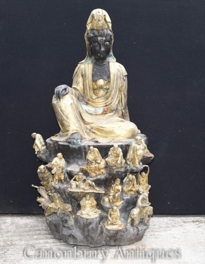 Large Bronze Nepalese Buddha Statue - Buddhism Lotus Pose Buddhist Art