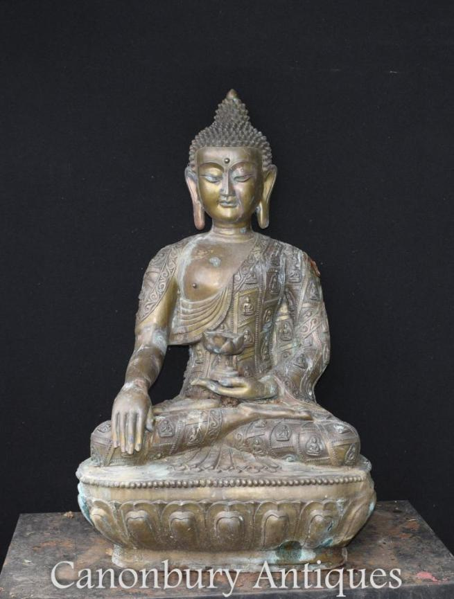 Large Bronze Nepalese Buddha Statue Garden Buddhist Art