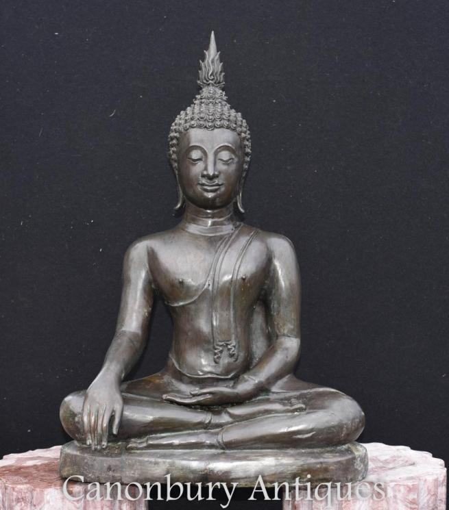 Large Bronze Tibetan Buddha Statue Meditation Pose Buddhism