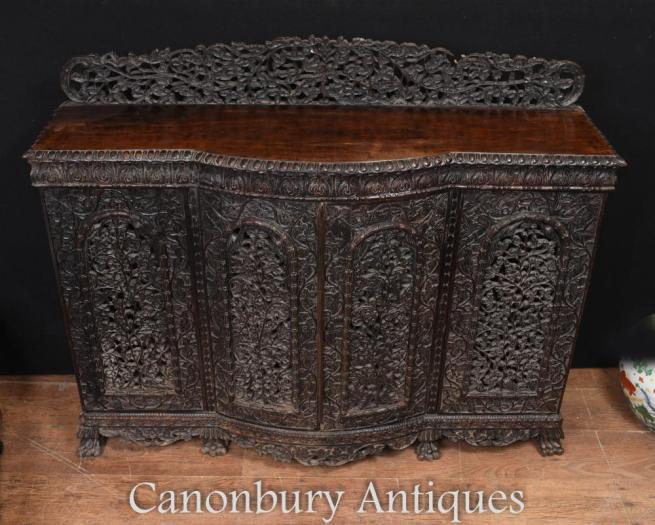 Large Burmese Sideboard Server - Hand Carved Antique Burma Circa 1880 Myanmar