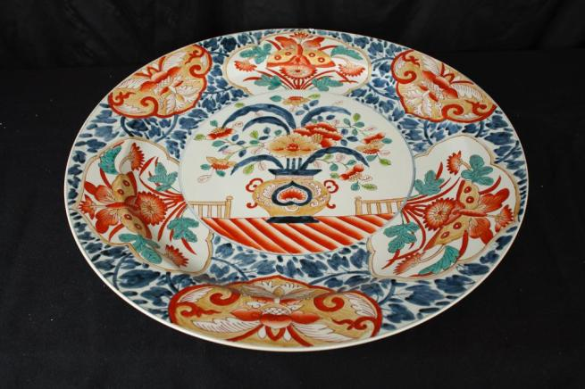 Large Chinese Imari Porcelain Plate Plaque Dish China Pottery