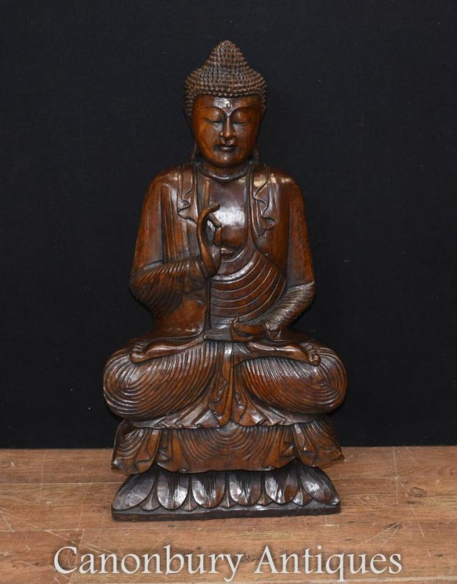 Large Hand Carved Tibetan Buddha Statue Buddhism