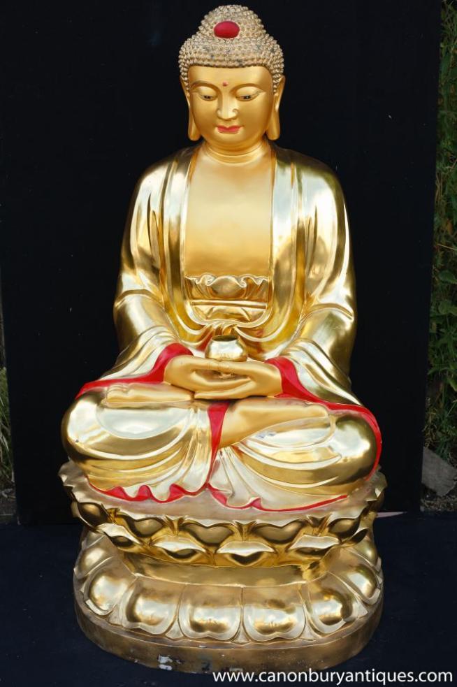 Large Ormolu Bronze Nepalese Buddha Statue Buddhist Art Lotus