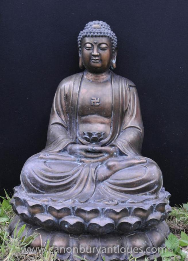 Large Tibetan Bronze Buddha Statue Buddhism Lotus Meditation Pose Buddhist Art