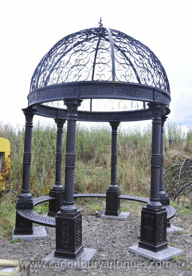 Large Victorian Cast Iron Gazebo Architectural Garden Seat Dome Canopy
