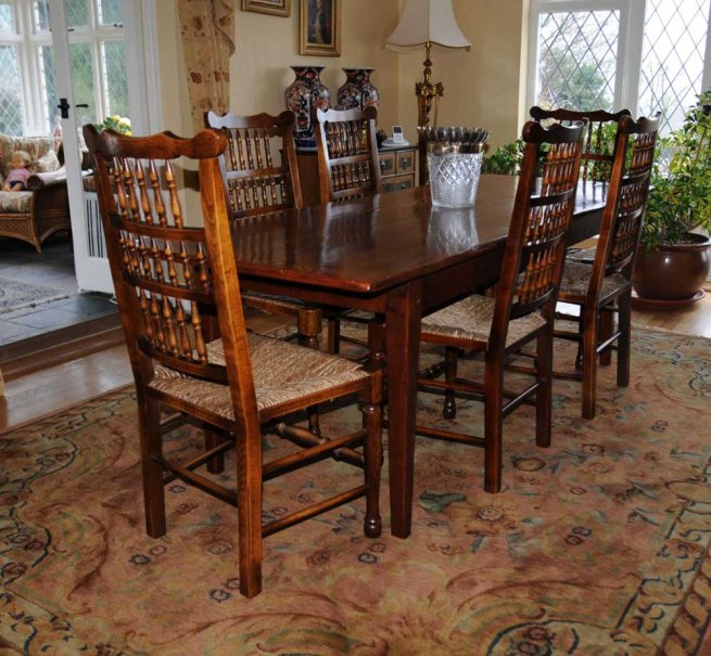 Oak Kitchen Dining Set Refectory Table Spindleback Chairs Set