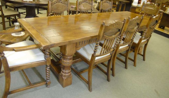 Oak Kitchen Table - Abbey Farmhouse Refectory Table Rustic Furniture