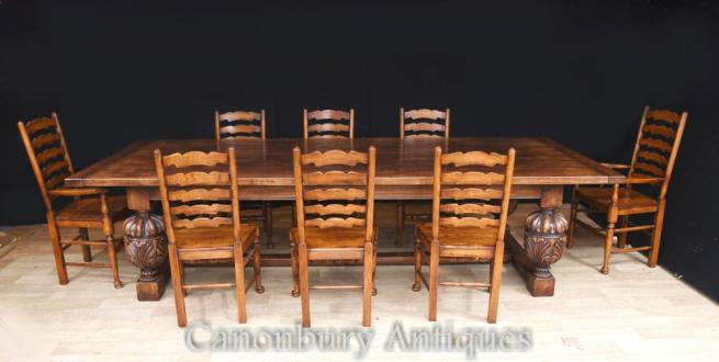 Oak Refectory Dining Table and Ladderback Farmhouse Kichen Set