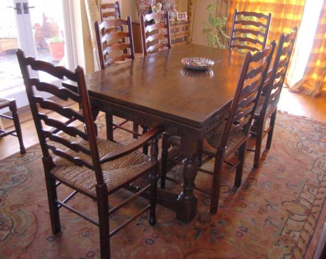 Oak Refectory Table Set Ladderback Chairs Kitchen Dining