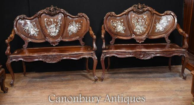 Pair Antique Chinese Antique Love Seats Mother of Pearl Benches
