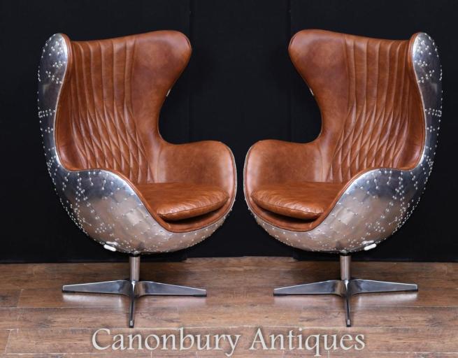 Pair Art Deco Chrome Aviator Arm Chairs Chrome Leather