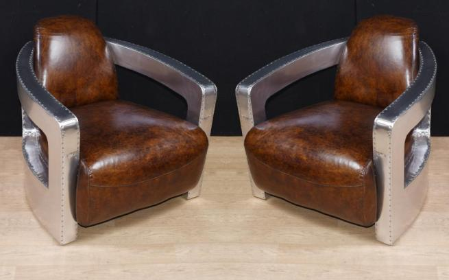Pair Aviator Art Deco Club Chairs Chrome Leather Arm