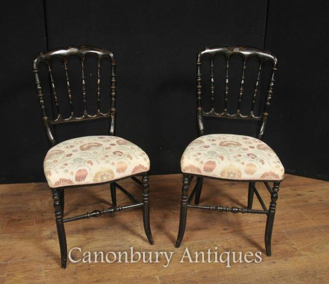 Pair Chinese Chairs - Antique Black Lacquer Dining Chair Spindle Back