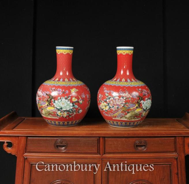 Pair Chinese Ming Porcelain Urns Vases Imperial Red Shangping