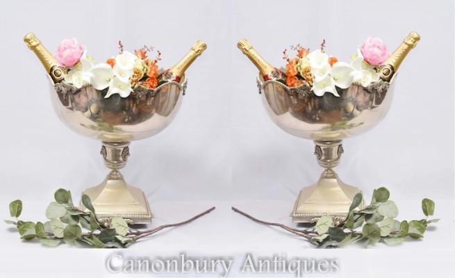 Pair English Silver Plate Punch Bowls Urns Stands