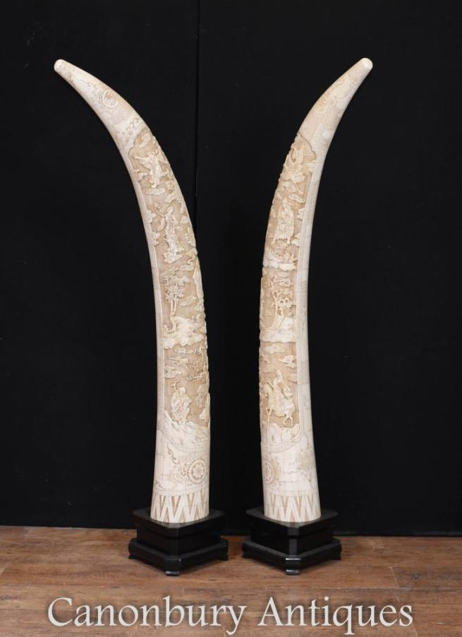 Pair Giant Carved Chinese Bone Display Tusks Architectural Interiors