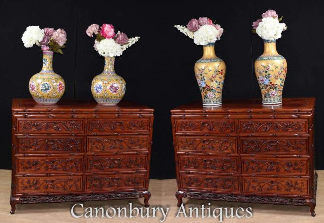 Pair Large Hand Carved Chinese Commodes Chests of Drawers