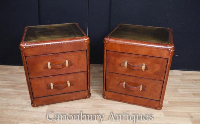 Pair Leather Campaign Bedside Chests Drawers Steamer Trunk Nightstands