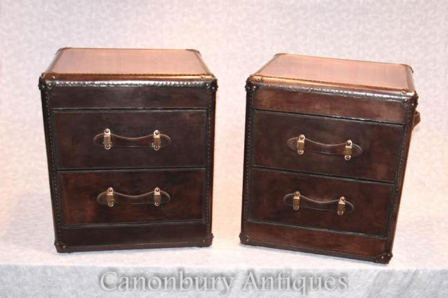 Pair Leather Campaign Chests of Drawers Bedside Nightstands Colonial Furniture